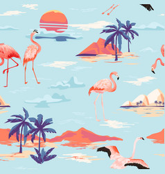 tropical island flamingo seamless summer pattern vector image
