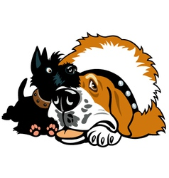 Two cartoon dogs vector