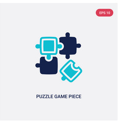 two color puzzle game piece icon from business vector image