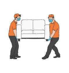Two furniture movers moving a sofa in medical vector