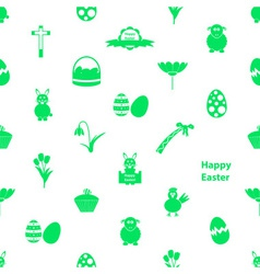 various Easter icons seamless white and green vector image