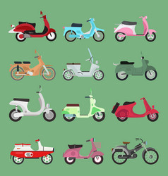 vintage retro bike scooters old fashioned vector image
