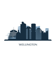 Wellington skyline monochrome silhouette vector