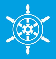 Wheel of ship icon white vector