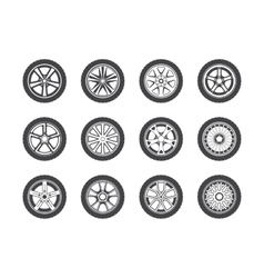 Wheel tyre and tire collection of icons vector