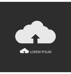 White cloud with uploading sign as logo on dark vector