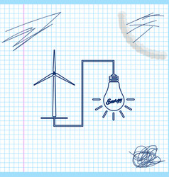 wind mill turbine generating power energy and vector image