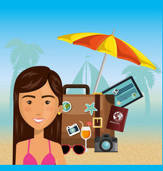 woman character on the beach vector image