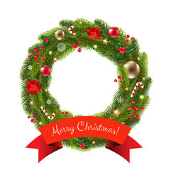 Xmas fur tree wreath vector