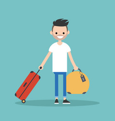 Young bearded man travelling with his luggage vector