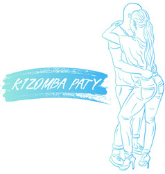 Young couple dancing kizomba draw vector
