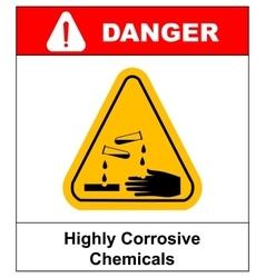 Corrosive sign Warning sign Danger sign vector image vector image