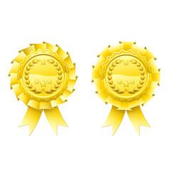 gold winners laurel rosettes vector image