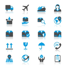 Logistics and shipping flat with reflection icons vector image
