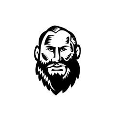 Male Big Beard Woodcut vector image vector image