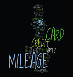 Mileage credit card tips for how to apply text vector