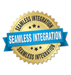 Seamless integration round isolated gold badge vector