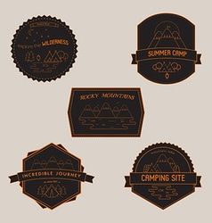 Set of Camping Badges and Emblems with Mountain vector image