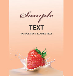 strawberries and milk realistic vector image vector image