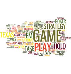 Texas hold em strategy text background word cloud vector