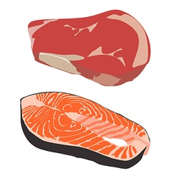 Beef and salmon steak vector image vector image