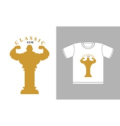 Classic Gym logo Bodybuilder silhouette and an vector image