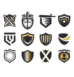 isolated abstract medieval shields logos set coat vector image vector image
