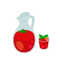 Jar and glass of fresh sangria icon vector image vector image