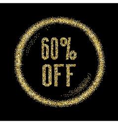 Sale 60 off discount type on golden glitter vector