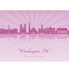 Washington DC V2 skyline in purple radiant orchid vector image vector image