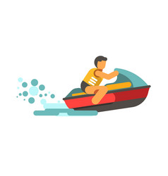 young male person in life vest driving water vector image