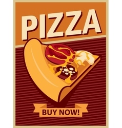 banner with slice of pizza vector image vector image