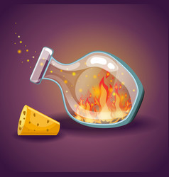 cartoon empty bottles with flame vector image
