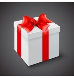 Gift box with red ribbon vector image vector image