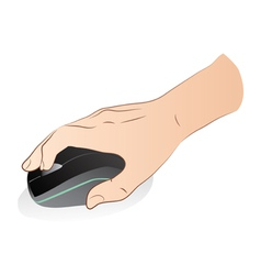 Hand With Optical Mouse vector image vector image