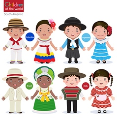 Kids in different traditional costumes Colombia vector image vector image