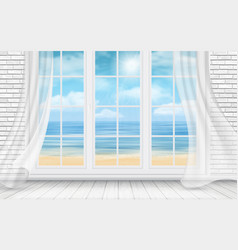 room with white brick wall and window vector image vector image