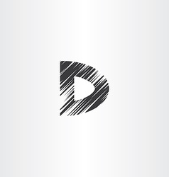 scratched letter d icon vector image vector image
