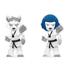 serious husky martial arts vector image vector image