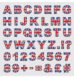 uk flag alphabet vector image vector image