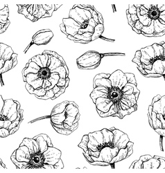 vintage anemone seamless pattern Hand vector image vector image
