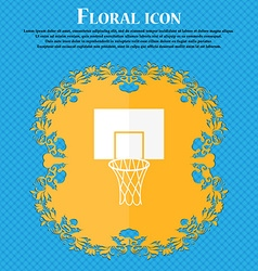 Basketball backboard icon floral flat design on a vector