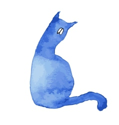Blue silhouette of a cat with sad eyes vector image vector image