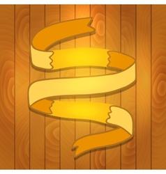 Cartoon Ribbon on wood background vector image