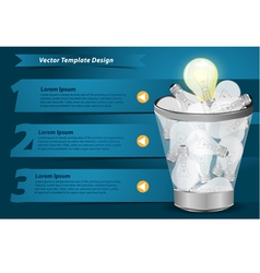 Creative Template with light bulb in the Trash vector image vector image