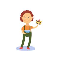 flat boy kid holding piece of cake vector image