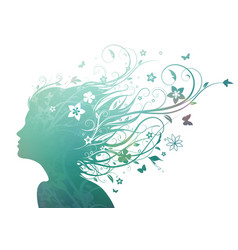 floral girl vector image