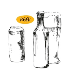 Glass of beer beer bottles and cans vector image