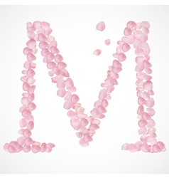 M letter Alphabet from pink petals of rose vector image vector image