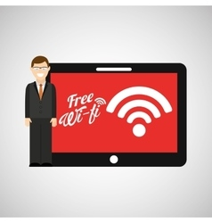 man tablet free wifi icon design vector image